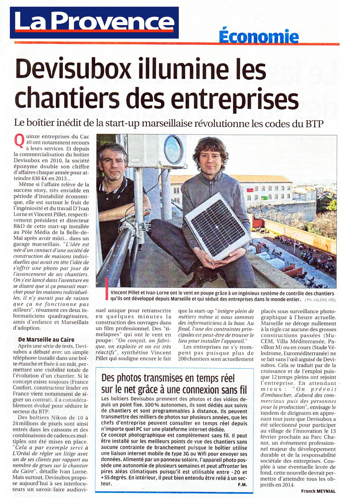 Interview Ivan LORNE, Vincent PILLET, La Provence, janvier 2014